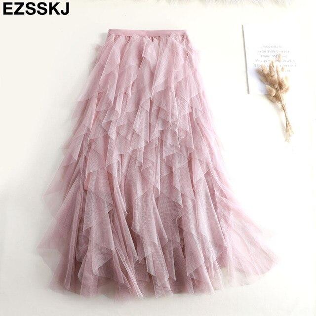 Elegante falda de malla irregular para mujer, nueva falda de pastel de tutú multicapa primavera otoño 2019, falda larga de tul esponjosa con volantes para mujer