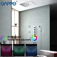 GAPPO смесители для душа Осадки Душ Набор Смеситель для ванны кран ванной Душ Дождь смесители светодиодный Водопад кран ванна кран