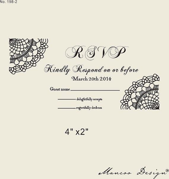 Custom Rsvp Rubber Stamp To Create Response Cards Lace Wedding
