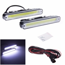 1 Pair COB LED Daytime Running Light DRL Fog Driving Lamp for Universal Car Automobiles White 12V Waterproof new dimming style relay waterproof 12v led car light drl daytime running lights with fog lamp hole for mitsubishi asx 2013 2014