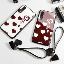Case & Strap For Xiaomi Mi 9 8 se cc9 cc9e Case Glass Hard Phone Cover For Xiaomi Mi cc9 8 Lite Smile Love Heart lanyard funda