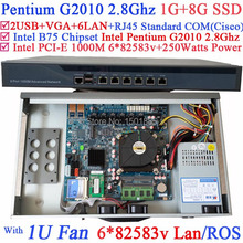 Pentium G2010 Dual Core 2 8Ghz Small Linux Router Firewall Server with 6 1000M 82583V
