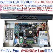 Pentium G2010 двухъядерный 2.8 ГГц небольшой Linux маршрутизатор брандмауэра сервера с 6 * 1000 м 82583 В