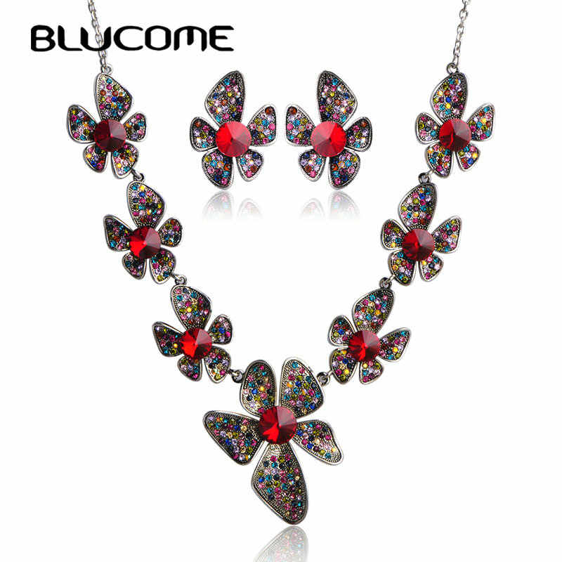 Blucome Luxurious Collar Necklace Earrings Set Max Brincos Flowers Red Crystal Jewelry Sets For Wedding Party Women Bijuterias