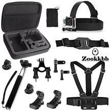 Zookkbb Head Chest Strap Medium Size Carry Bag Bike Handlebar Holder Monopod Pole Surface J-Hook for Gopro HD 4 3+ 3 Hero 4 5