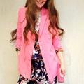 2016 Женщины Повседневная Дизайнер Костюм Одежда Офис Бизнес Розовый Блейзер Парень печатных Рукав наплечный элегантный Blazer пальто