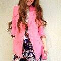 2016 Women Casual Designer Suit Clothes Office Business Pink Blazer Boyfriend printed Sleeve padded Shoulder elegant Blazer coat