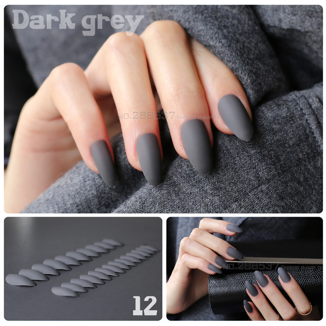 Dark grey Full Nail Tips Comfortable Matte nails Pointed Stiletto ...