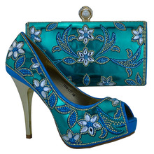 African shoes and bag sets Italian design high heel shoes with matching bag for party 1308