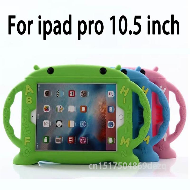 Case for iPad pro 10.5 inch, handgrip stand Shock Proof Silicon full body cover Kids Children Safe rubber shell +Stylus lt 5t full metal full hard oxygen treatment combination shock absorber leakage proof 4 pcs