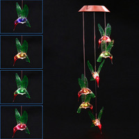 Fashion Wind Chime LED Light Solar Changing Color Hummingbird Hanging Lawn Yard Garden Home Decoration M25