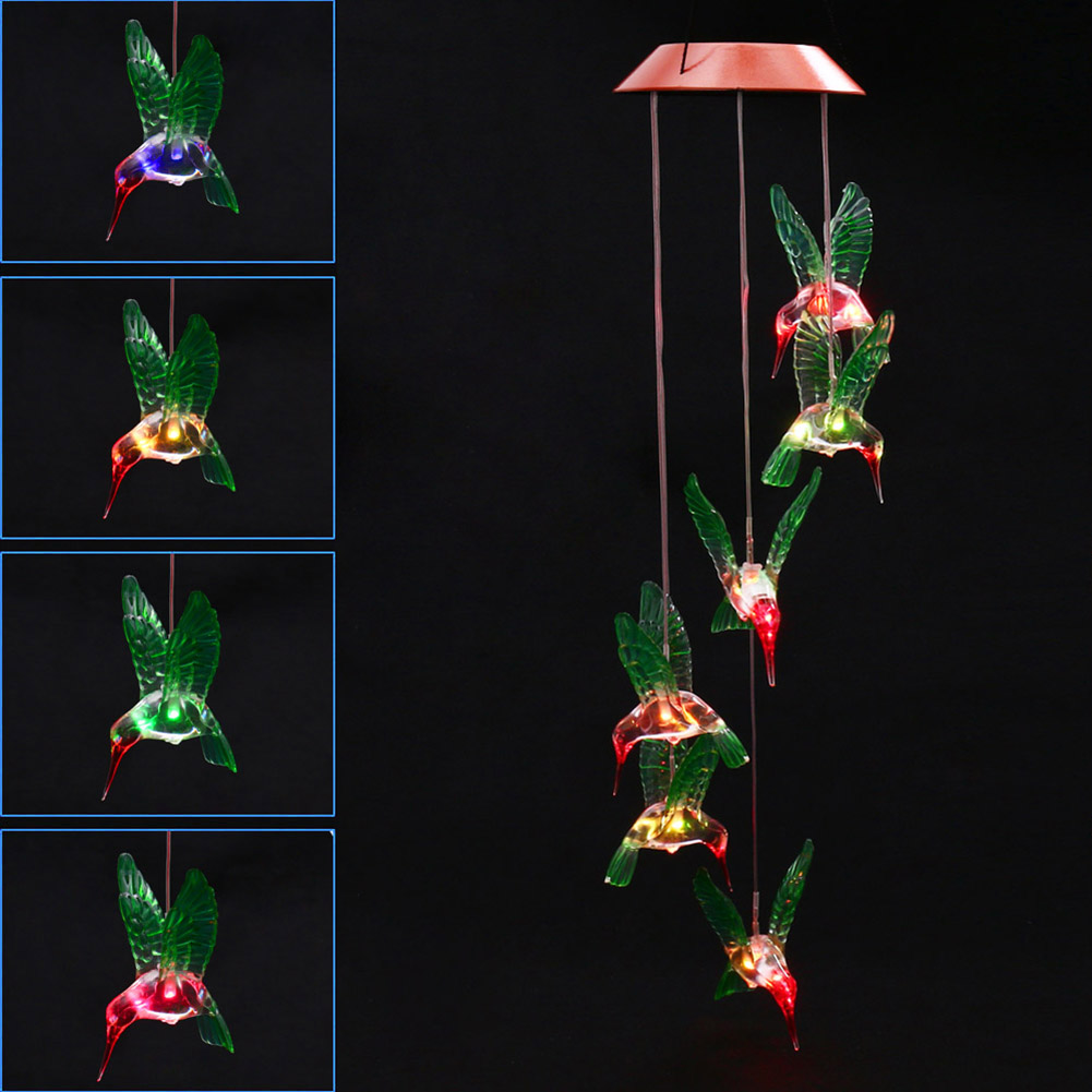 Fashion Wind Chime LED Light Solar Changing Color Hummingbird Hanging Lawn Yard Garden Home Decoration --M25