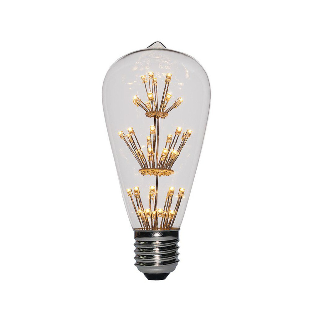 E27 3W 2200K Vintage LED Light Bulb Fireworks Starry Decorative 47 LEDs for Pendant Lamp Dimmable