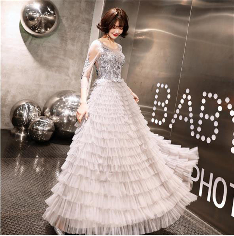 It's YiiYa Evening Dress 2019 Floral Lace O-neck Multi-layer Tulle Long Women Party Dress A-Line Robe De Soiree Plus Size E488