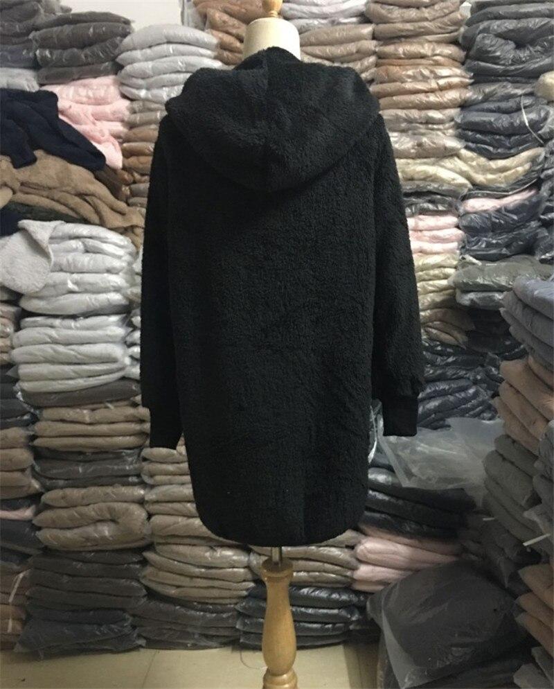 HTB14h1fPPTpK1RjSZKPq6y3UpXa1 Large size S-5XL Faux Fur Teddy Bear Coat Jacket Women Fashion Open Stitch Winter Hooded Coat Female Long Sleeve Fuzzy Jacket