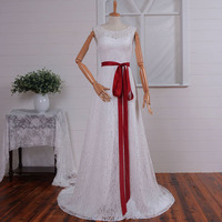 Elegant Lace Wedding Dresses Open Back With Red Sash Simple Tank A Line Real Photos FC033