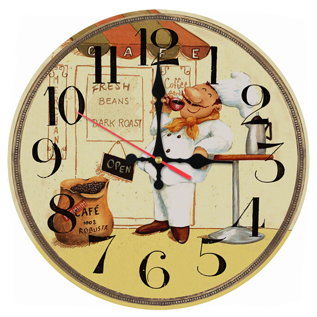 Rushed wall clock wooden clocks quartz watch single face still life ...