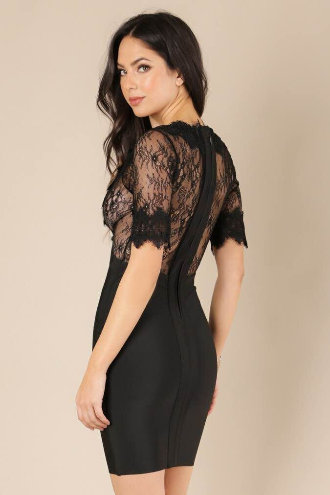 Black and Pink Coloe Ladies HL Bandage Dress Short Sleeve Sexy Lace V-Neck Bodycon  Dress 81039fb5988d