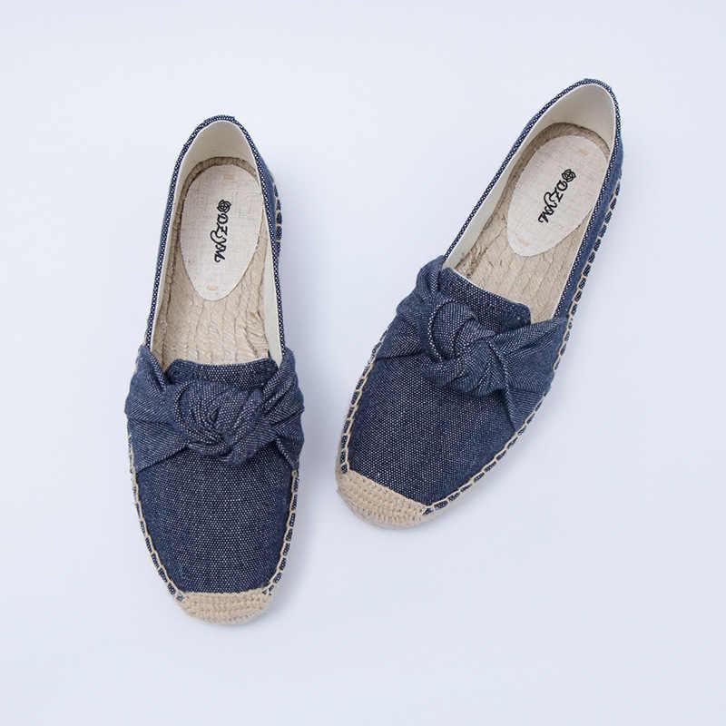 DZYM 2019 Chất Lượng Cao Bowtie Khâu Thấp Gót Canavs Phụ Nữ Căn Hộ Giải Trí Giày Đế Bằng Zapatos Mujer Gingham Mô Hình Fishemen Giày