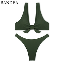 BANDEA bikini set women 2017 new sexy swimwear green swimsuit brazilian bottom bathing suit red stripe padding bodysuit KM575