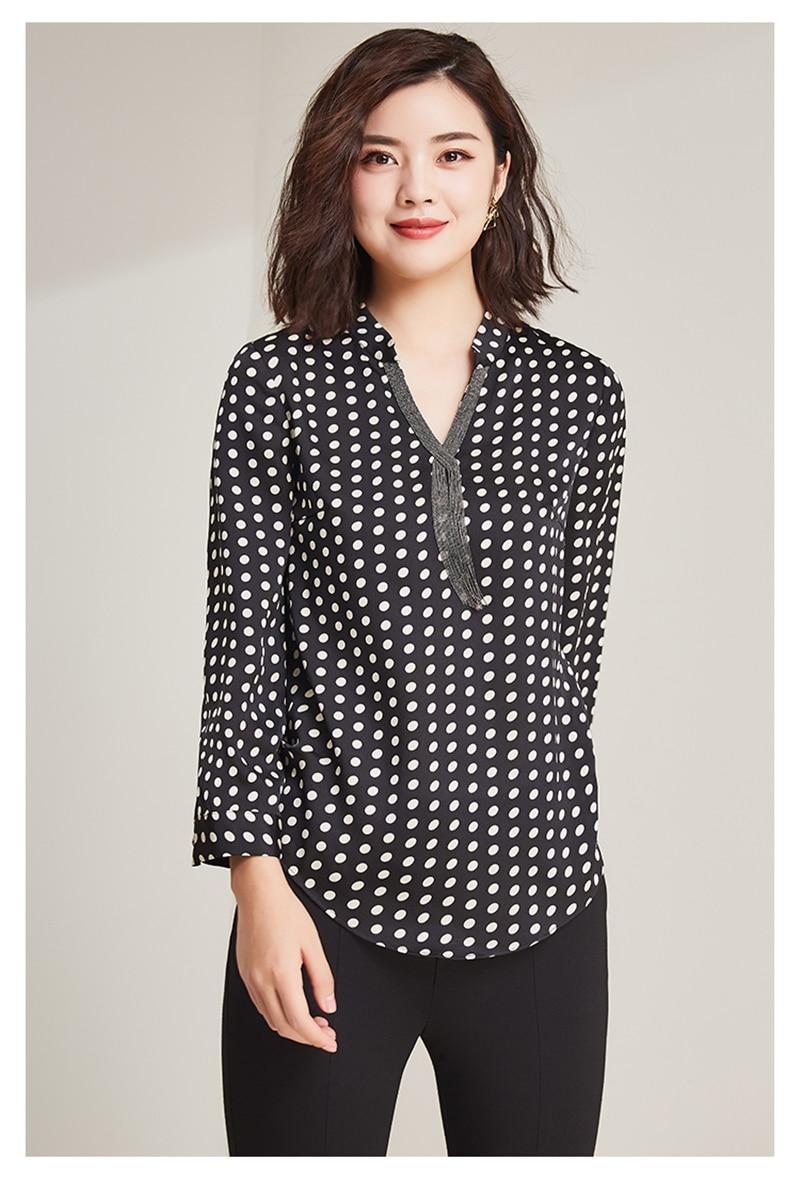2019 nueva moda 100% poliéster suave telas finas mujeres puntos impresión camisetas Vneck manga larga Camisetas talla grande L 6XL - 3
