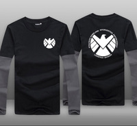 Mens Casual TV Series Agents of S.H.I.E.L.D. Logo Contrast Color Cotton Priting Pattern O Neck Long Sleeve T shirts Tops