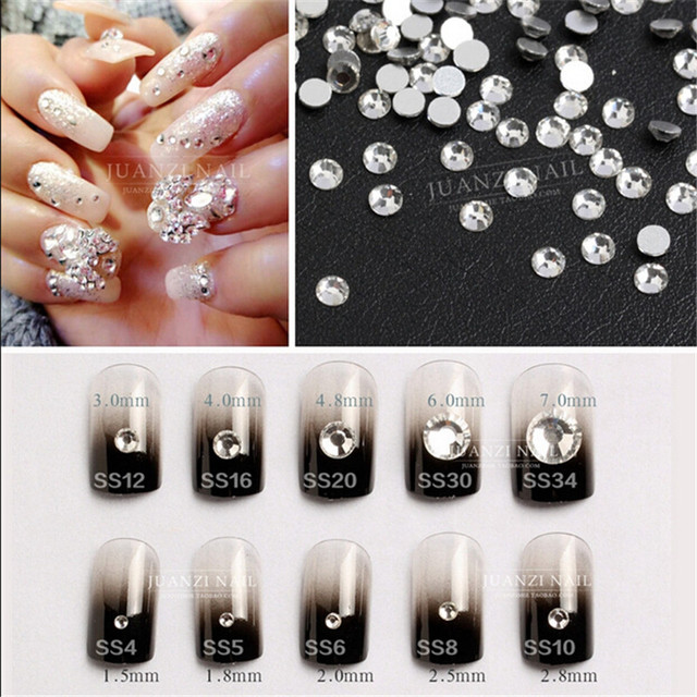 Wholesale ss3 ss40 Flat Back Clear Crystal ( 3d Nail Art decorations ...