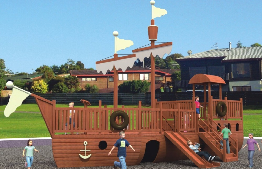 Wooden Outdoor Playground Super Quality Children Outdoor Pirate Ship FY20101 vacation