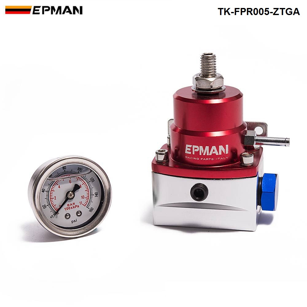EPMAN Aluminum Adjustable Fuel Pressure Regulator AN6 W 1/8 NPT (With Gauge/No with) For FORD MONDEO TDCi TK-FPR005-ZTGA