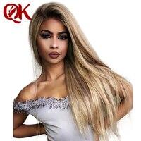QueenKing волосы парик 150% плотность Lemi изделие T4/27/613 Ombre цвет парики шелковистая прямая 100% бразильский человеческих волос