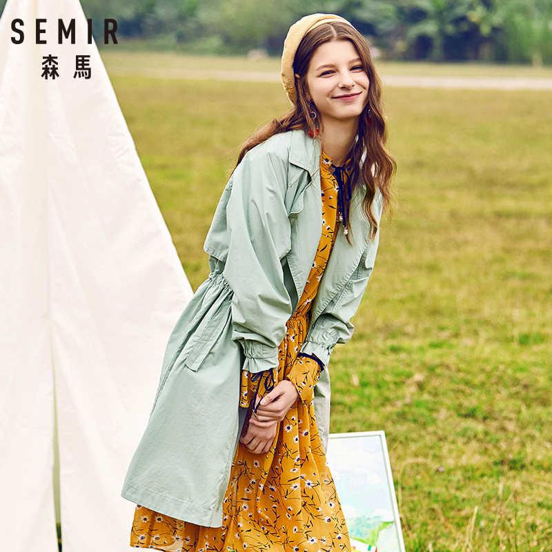 SEMIR 2019 Herbst graben frauen beiläufige Lange Abschnitt Taille Koreanischen Wilden Student Mantel Für Junge Frauen Trend Kleidung 4 farben