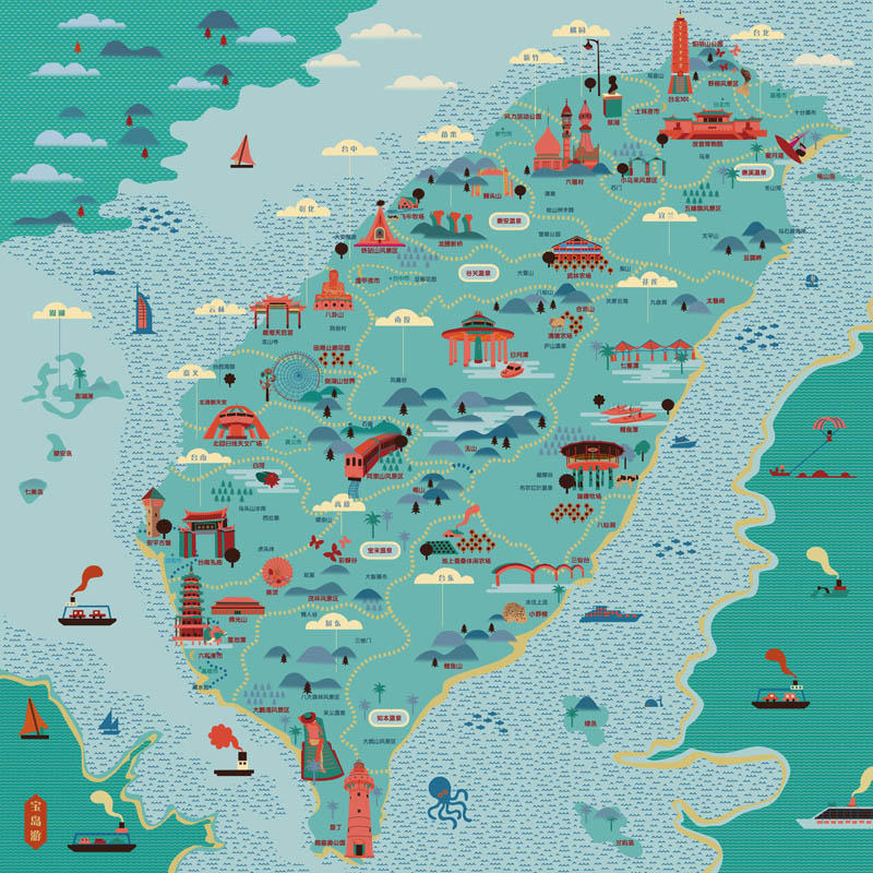Viesca taiwan tourism map around the island for free hand viesca taiwan tourism map around the island for free hand handkerchief small towel handkerchief in mens costumes from novelty special use on sciox Images