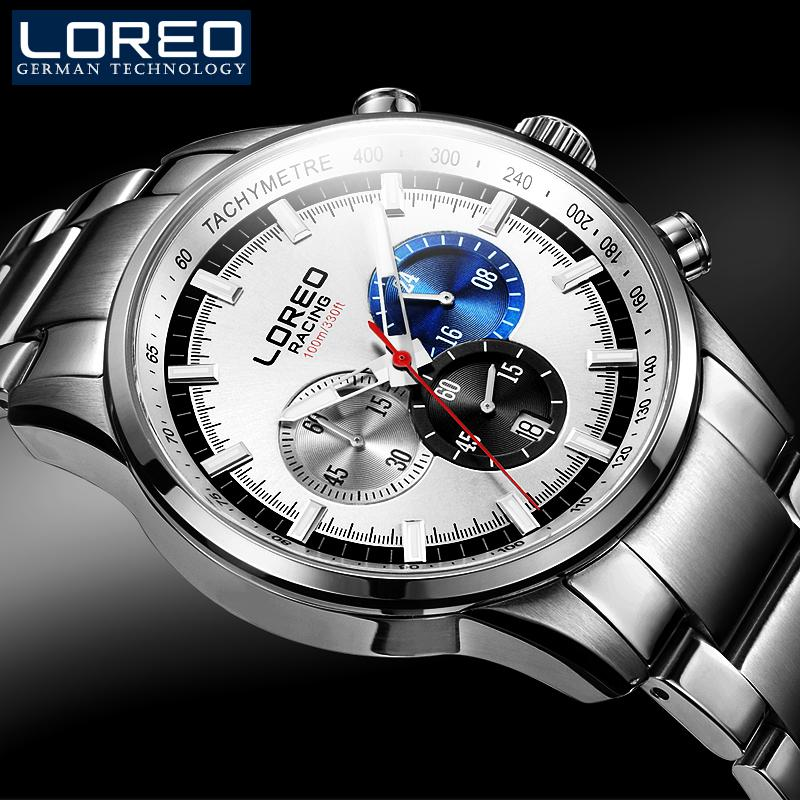 LOREO Brand Luxury Men Watches Luminous Black Full Stainless Steel Waterproof Calendar Casual Fashion Men'S Business Watch M11