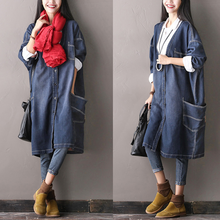 2016 female new autumn plus plus size long sleeve length denim trench patchwork V neck cardigan