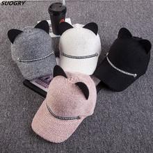 2018 New women winter caps Fashion woman knitting baseball cap cute cat ear baseball caps casual