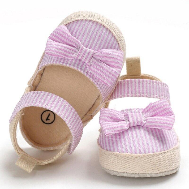 1 Pair Baby Kids Girls Summer Sandals Shoes Non-Slip Canvas Bowknot Striped Princess Toddlers Newborn Infantil Sandals