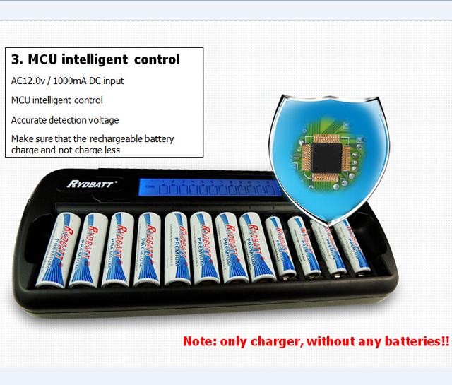 Atacado/garantia da qualidade excelente qualidade super rápida 12 slots nimh nicd aa/aaa lcd inteligente fonte de alimentação inteligente carregador de bateria