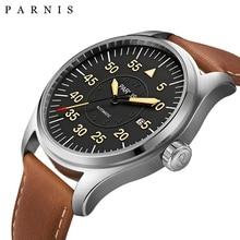 Nueva 44mm Parnis Reloj Automático de Los Hombres Reloj de Pulsera Mecánico Caja de Acero Inoxidable Dial Negro Número Luminoso Reloj de Los Hombres Militares