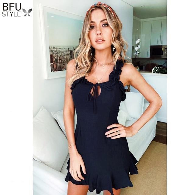 d2781877e5e5032 Sexy Summer Blue Dress Beach Lace Up Short Mini Dresses Women Backless  Sleeveless Ruffles Dress Vestidos