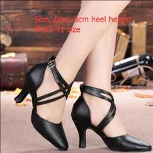 Women's Leather Dance Shoes Closed Pointed Toe Latin Ballroom Salsa Dancing Shoes For Girls Closed Toe Latin Dance Shoes