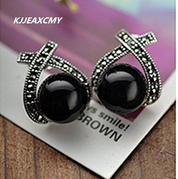 KJJEAXCMY Black silver jewelry wholesale 925 sterling silver jewelry inlaid Onyx Marcasite red female Earrings
