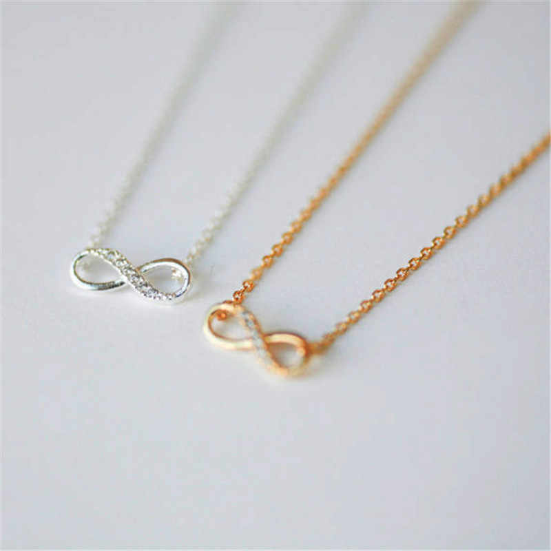 Ahmed New Tiny Infinity Crystal Pendant Necklaces for Women Choker Lucky Number Eight Geometric Gold Silver Long Chain Necklace