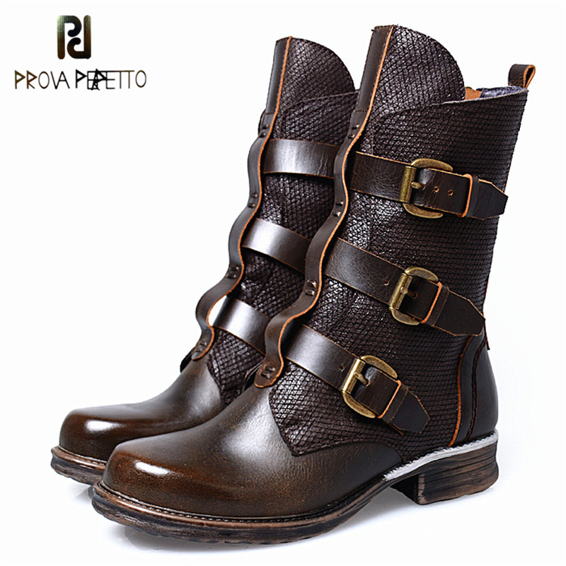 Prova Perfetto Hand-some Design Genuine Leather Patchwork Buckle Strap Woman Boots Fashion Round Toe Low Heel Zipper-side Boots prova perfetto fashion round toe low heel mid calf boots feminino buckle belt thick bottom genuine leather women s martin boots