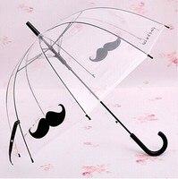 051349 Transparent Long Handle Creative Personality Beard ErTongSan Transparent Umbrella Free Hipping