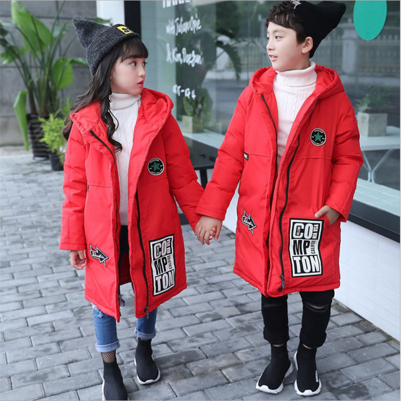 Boys & Girls Long Down Jackets Winter Coat Fashion Hooded Letters Jacket For Children 120-160 White Duck Down Outwear 2017 New 90 160 down jackets for children boys