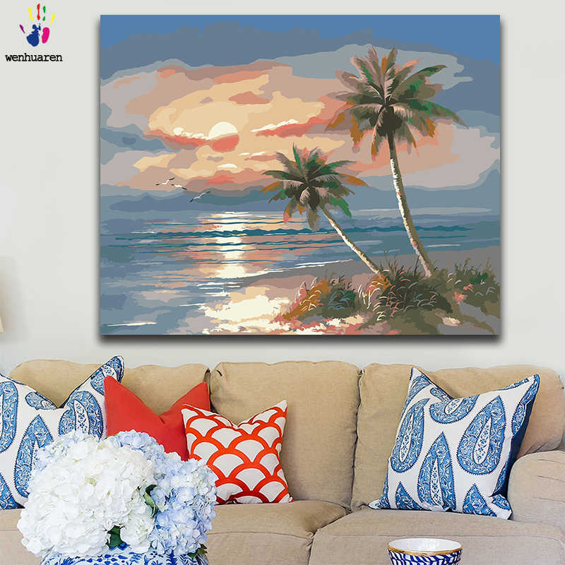 DIY colorings pictures by numbers with colors Beach seascape Mediterranean style picture drawing painting by numbers framed Home