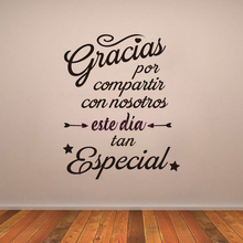 Stickers Spanish Gracias Por Compartir Vinyl Wall Decals Mural Art Decor Living Room Home Poster House Decoration