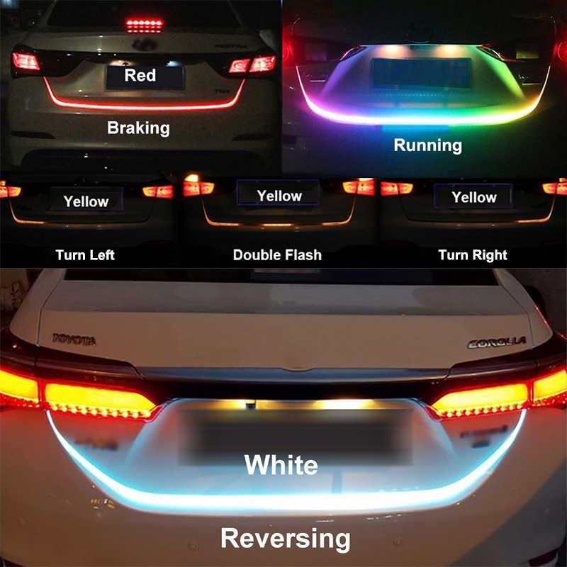 Car Styling LED Strip Trunk Light 12V RGB 120cm IP68 Multifunction Auto Rear DRL Warning Lamp Turn Signal Brake Reverse Lights