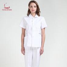 Short sleeve summer suit split white lab doctor short beauty salon pet hospital work clothes