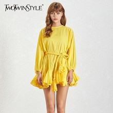 TWOTWINSTYLE O Neck Long Sleeve Summer A Line Women Dress High Waist Bandage Bow Slim Mini Solid Dresses Ladies Fashion New 2020